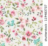 Stock vector seamless vintage flower garden pattern background 119483737