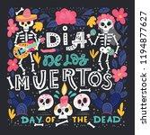 vector dia de los muertos  day... | Shutterstock .eps vector #1194877627