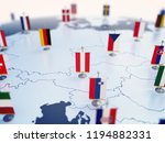 Flag of Austria in focus among other European countries flags. Europe marked with table flags 3d rendering