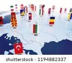 flag of bulgaria in focus among ... | Shutterstock . vector #1194882337