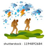hikers father and teenager son... | Shutterstock .eps vector #1194892684