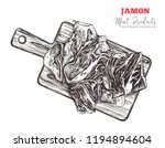 spanish jamon  italian... | Shutterstock .eps vector #1194894604