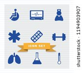 medical icon set flat style in...