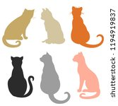 cats on white. hand drawn... | Shutterstock .eps vector #1194919837