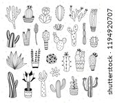cute cactus and succulents... | Shutterstock .eps vector #1194920707