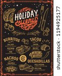 christmas menu template for... | Shutterstock .eps vector #1194925177