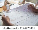 designer sketching drawing... | Shutterstock . vector #1194925381