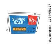 super sale 60  banner | Shutterstock .eps vector #1194958117