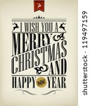 vintage christmas background... | Shutterstock .eps vector #119497159