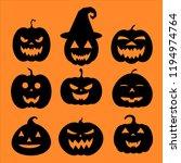 set of halloween pumpkins ... | Shutterstock .eps vector #1194974764