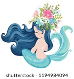pretty mermaid with flowers... | Shutterstock .eps vector #1194984094