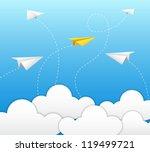 paper plane on blue sky   Shutterstock .eps vector #119499721