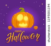 jack o lantern with smile and... | Shutterstock .eps vector #1195001194