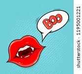 pop art style. vampire lips and ... | Shutterstock .eps vector #1195001221
