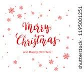 red lettering merry christmas... | Shutterstock .eps vector #1195001251