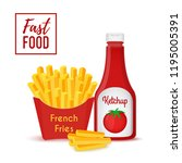 fast food collection   fries...   Shutterstock . vector #1195005391