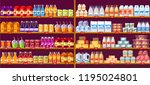 juice drinks and dairy at shop... | Shutterstock .eps vector #1195024801