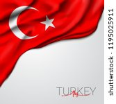 turkey waving flag vector... | Shutterstock .eps vector #1195025911