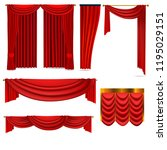 luxury red curtains set of...   Shutterstock .eps vector #1195029151
