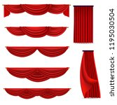 red curtains set of vector... | Shutterstock .eps vector #1195030504