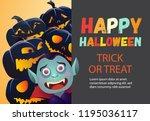 happy halloween orange and gray ...   Shutterstock .eps vector #1195036117
