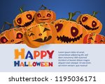 happy halloween bright poster... | Shutterstock .eps vector #1195036171