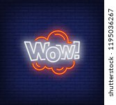 neon wow sign. glowing neon wow ... | Shutterstock .eps vector #1195036267