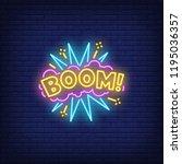 boom neon sign. glowing neon... | Shutterstock .eps vector #1195036357
