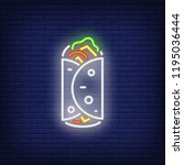 lavash wrap neon sign. glowing... | Shutterstock .eps vector #1195036444