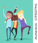 illustration of happy friends... | Shutterstock .eps vector #1195037941