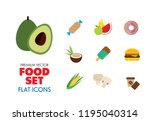 food icon set. broccoli  fruit  ... | Shutterstock .eps vector #1195040314