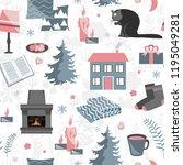 hygge seamless pattern. vector... | Shutterstock .eps vector #1195049281