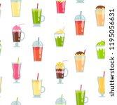 vector flat smoothie elements... | Shutterstock .eps vector #1195056631