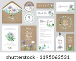 floral invitation cards.... | Shutterstock .eps vector #1195063531
