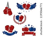 boxing labels and icons set.... | Shutterstock .eps vector #1195066771