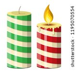 striped christmas candle. round ... | Shutterstock .eps vector #1195070554