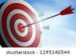 red arrows darts in target.... | Shutterstock .eps vector #1195140544