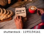 hand holding a cup of coffee... | Shutterstock . vector #1195154161