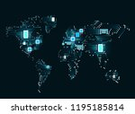 abstract world map with cpu.... | Shutterstock .eps vector #1195185814