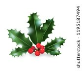 christmas holly element. nature ... | Shutterstock .eps vector #1195187494