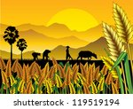 Silhouette Of Asian Farmers...