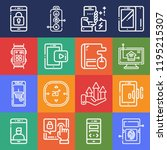 set of 16 touch outline icons... | Shutterstock . vector #1195215307