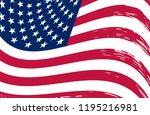 grunge wavy usa flag.vintage ... | Shutterstock .eps vector #1195216981