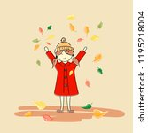 girl and autumn | Shutterstock .eps vector #1195218004