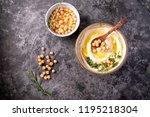 home made hummus bowl ... | Shutterstock . vector #1195218304
