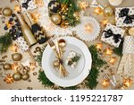 christmas table setting. gold... | Shutterstock . vector #1195221787