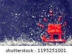christmas red sledges carry...   Shutterstock . vector #1195251001