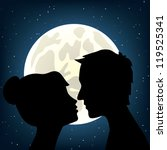Man And Woman Kissing A Moonli...