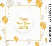 golden happy new year 2019 in... | Shutterstock .eps vector #1195253791