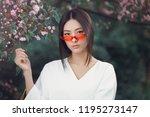 asian woman fashion close up... | Shutterstock . vector #1195273147